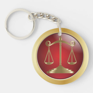 Scales of Justice | Law | Lawyer Double-Sided Round Acrylic Keychain