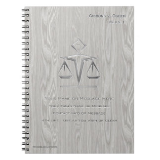 Scales of Justice on Grey Wood (Personalized) Notebook