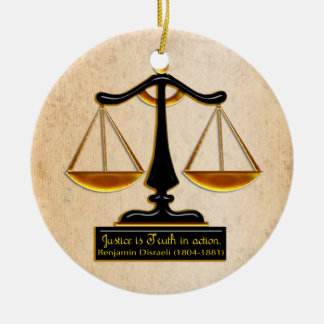 Scales of Justice on Parchment (Personalized) Round Ceramic Ornament