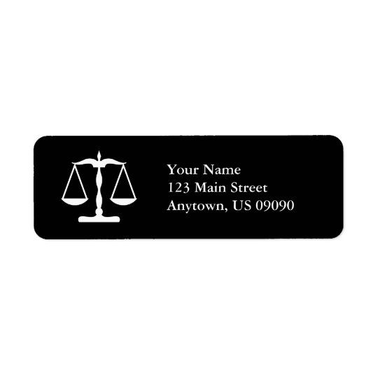 Scales Of Justice Return Address Labels (Black)