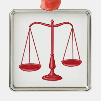 Scales Of Justice Silver-Colored Square Ornament