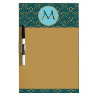 Scallop Bluegreen Teal Gold Seigaiha Japan Orient Dry Erase White Board