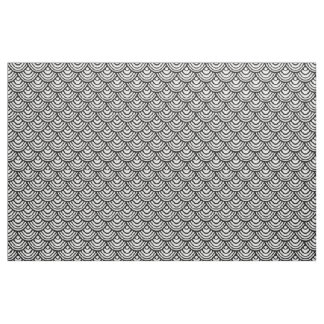 Scallop Scale Pattern Black and White Fabric