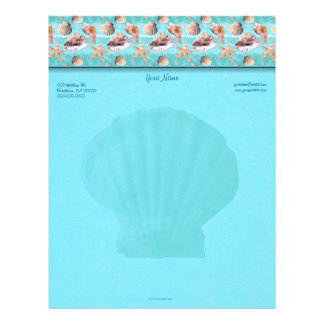 Scallop Sea Shells Ocean Blue Stripe Letterhead