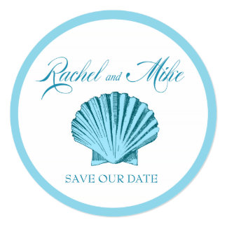 Scallop Seashell Beach Wedding | mint blue Card