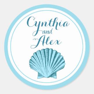 Scallop Seashell Beach Wedding | mint blue Classic Round Sticker