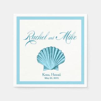 Scallop Seashell Beach Wedding   mint blue Napkin