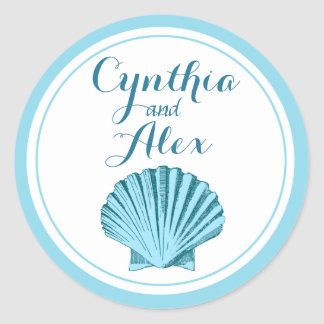 Scallop Seashell Beach Wedding | mint blue Round Sticker
