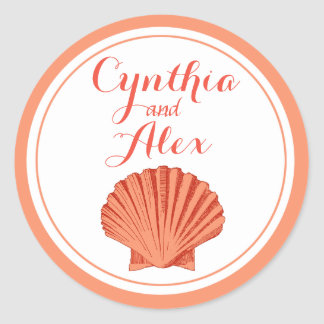 Scallop Seashell Beach Wedding | peach Classic Round Sticker