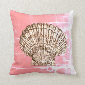 Scallop Seashell on Deep Pink Throw Pillow