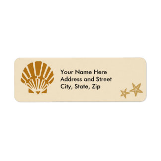 Scallop Shell and two starfish Return Address Label