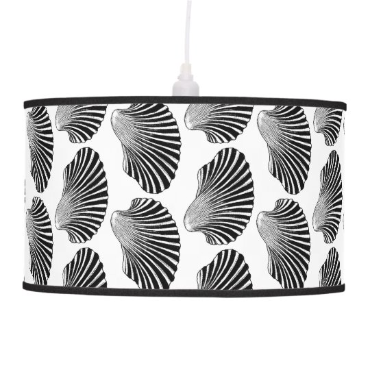 Scallop Shell Block Print, Black and White Ceiling Lamps