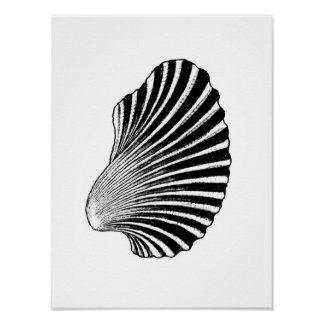 Scallop Shell Block Print, Black and White Poster