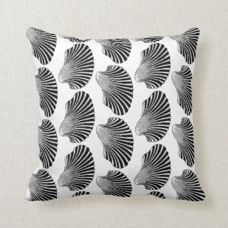 Scallop Shell Block Print, Black and White Throw Pillow