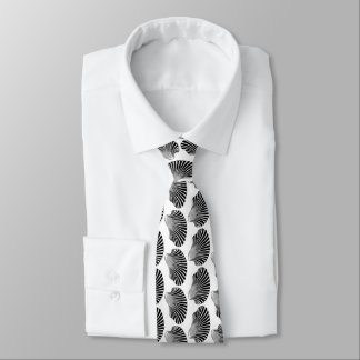 Scallop Shell Block Print, Black and White Tie