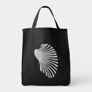 Scallop Shell Block Print, Black and White Tote Bag
