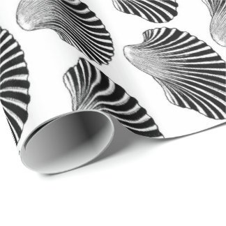 Scallop Shell Block Print, Black and White Wrapping Paper