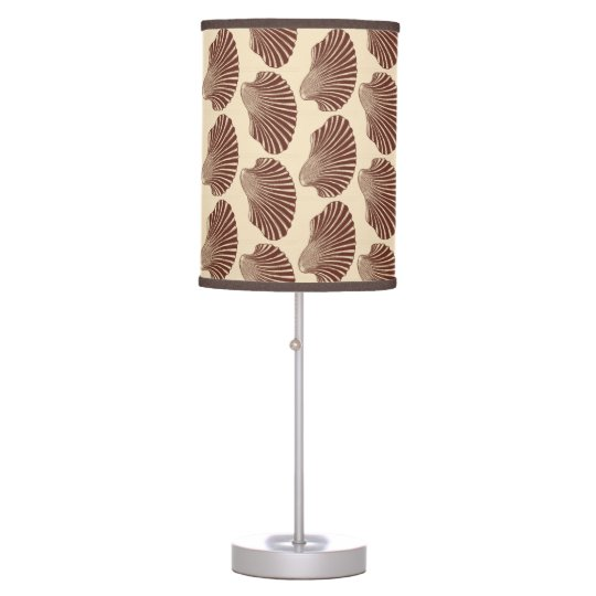 Scallop Shell Block Print, Brown and Beige Desk Lamps