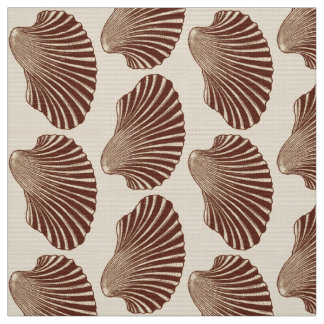 Scallop Shell Block Print, Brown and Beige Fabric