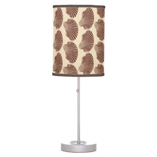 Scallop Shell Block Print, Brown and Beige Table Lamp