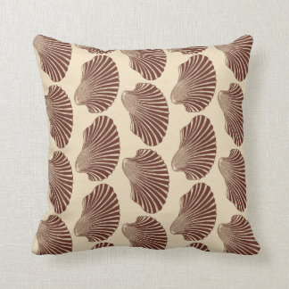 Scallop Shell Block Print, Brown and Beige Throw Pillow