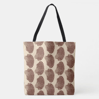Scallop Shell Block Print, Brown and Beige Tote Bag