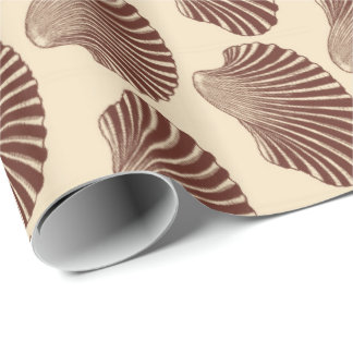 Scallop Shell Block Print, Brown and Beige Wrapping Paper