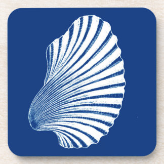Scallop Shell Block Print, Cobalt Blue and White Coaster