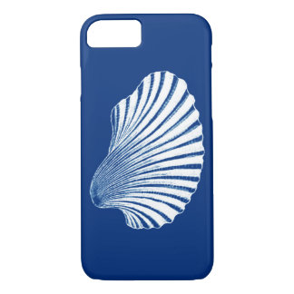 Scallop Shell Block Print, Cobalt Blue and White iPhone 8/7 Case