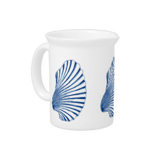 Scallop Shell Block Print, Cobalt Blue and White Pitcher