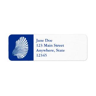 Scallop Shell Block Print, Cobalt Blue and White Return Address Label