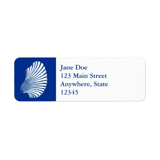Scallop Shell Block Print, Cobalt Blue and White Return Address Label