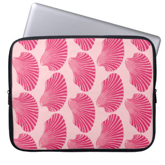 Scallop Shell Block Print, Fuchsia and Pale Pink Computer Sleeve