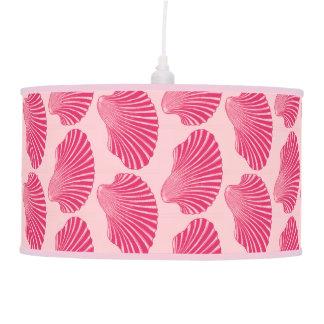 Scallop Shell Block Print, Fuchsia and Pale Pink Pendant Lamp