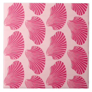 Scallop Shell Block Print, Fuchsia and Pale Pink Tile
