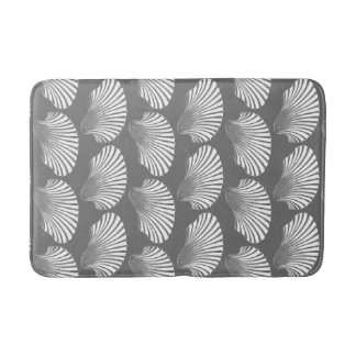 Scallop Shell Block Print, Gray / Grey and White Bath Mat