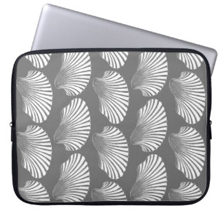 Scallop Shell Block Print, Gray / Grey and White Laptop Sleeve