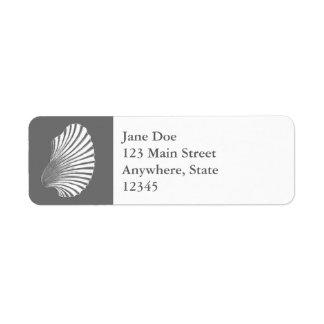 Scallop Shell Block Print, Gray / Grey and White Return Address Label