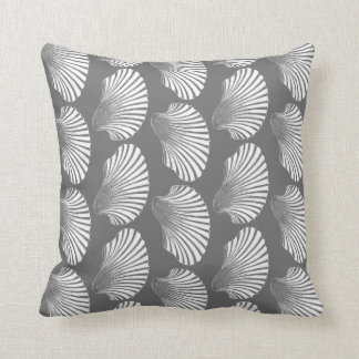 Scallop Shell Block Print, Gray / Grey and White Throw Pillow