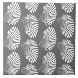 Scallop Shell Block Print, Gray / Grey and White Tile