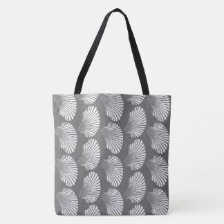 Scallop Shell Block Print, Gray / Grey and White Tote Bag
