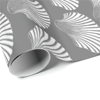 Scallop Shell Block Print, Gray / Grey and White Wrapping Paper