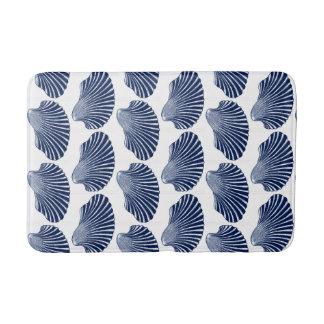 Scallop Shell Block Print, Indigo and White Bath Mat