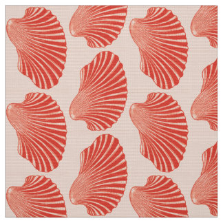 Scallop Shell Block Print, Light Coral Orange Fabric