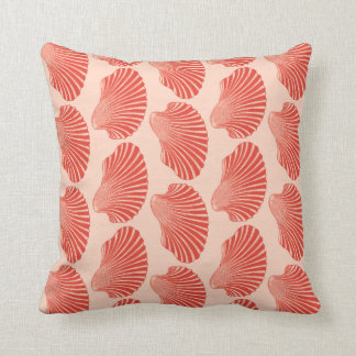 Scallop Shell Block Print, Light Coral Orange Throw Pillow