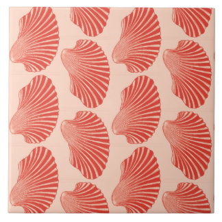 Scallop Shell Block Print, Light Coral Orange Tile