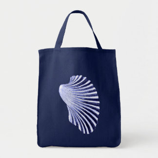 Scallop Shell Block Print, Navy and White Tote Bag