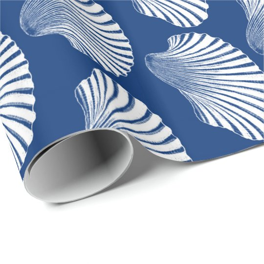 Scallop Shell Block Print, Navy Blue and White