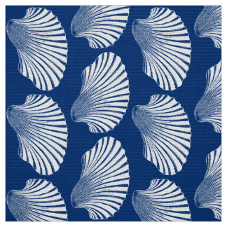 Scallop Shell Block Print, Navy Blue and White Fabric