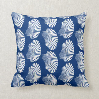 Scallop Shell Block Print, Navy Blue and White Throw Pillow